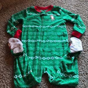 Carter's Green Fleece Christmas ZipUp PJs